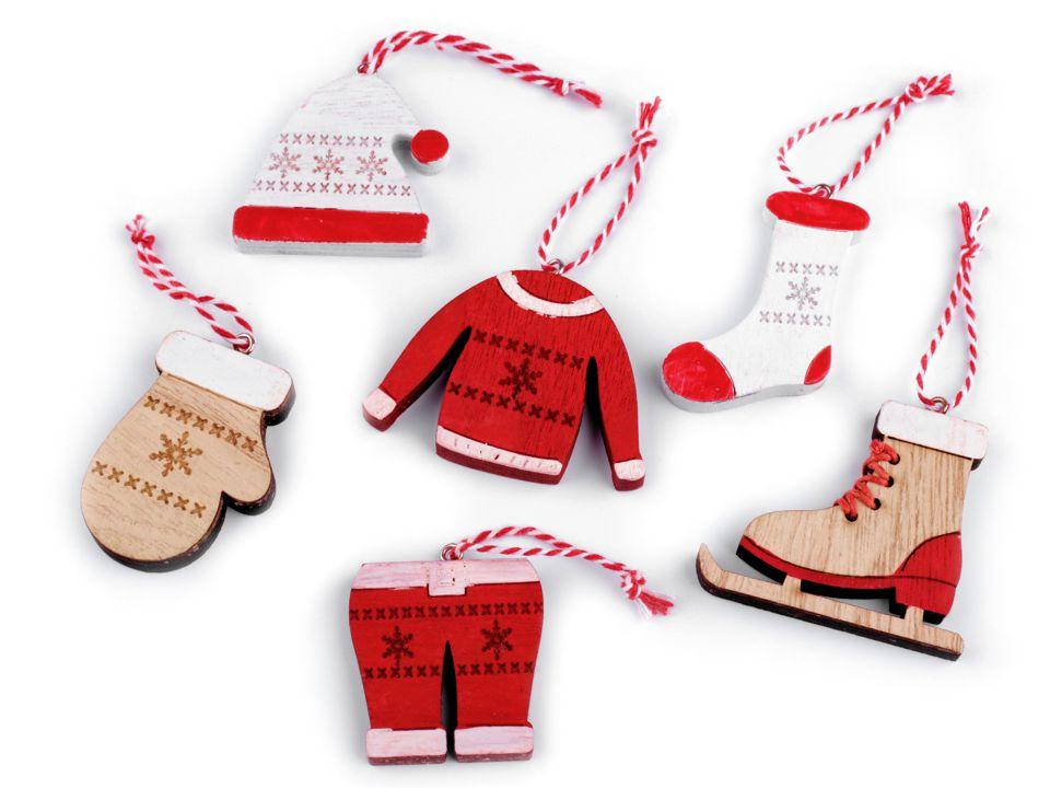 Vianočná drevená dekorácia - 6 ks 0c4279f5ed9