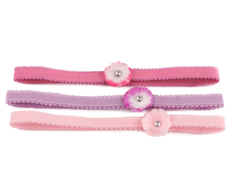 Detská elastická čelenka do vlasov s kvetom sada 3 ks - 1 kar. 72c9d0c537
