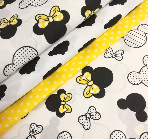 MICKEY A MINNIE YELLOW NA BIELEJ BAVLNE 160cm!!!